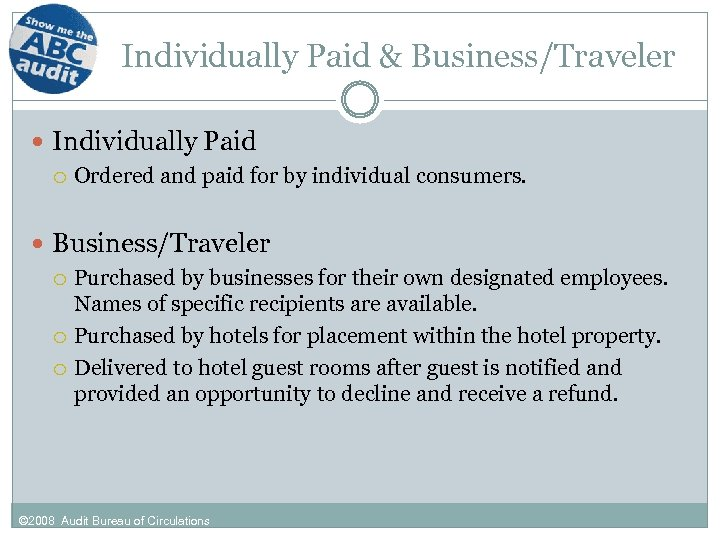 Individually Paid & Business/Traveler Individually Paid Ordered and paid for by individual consumers. Business/Traveler