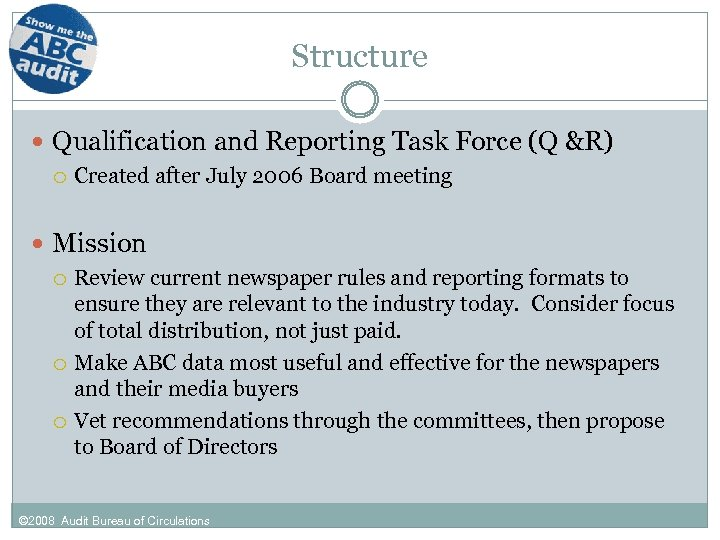 Structure Qualification and Reporting Task Force (Q &R) Created after July 2006 Board meeting