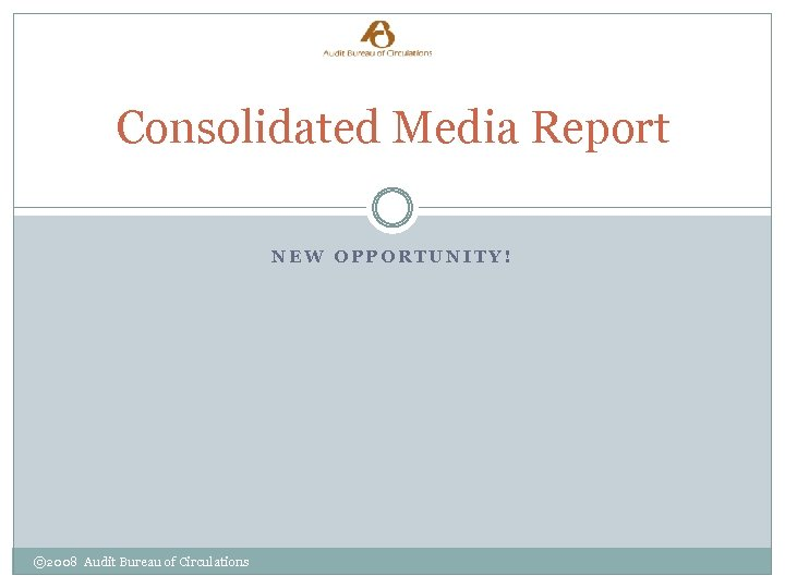 Consolidated Media Report NEW OPPORTUNITY! © 2008 Audit Bureau of Circulations