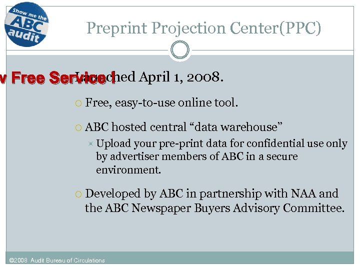 Preprint Projection Center(PPC) Launched w Free Service ! April 1, 2008. Free, easy-to-use online