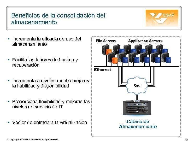 Beneficios de la consolidación del almacenamiento Incrementa la eficacia de uso del almacenamiento Facilita