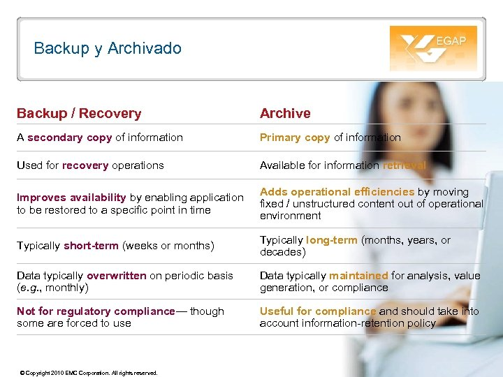 Backup y Archivado Backup / Recovery Archive A secondary copy of information Primary copy