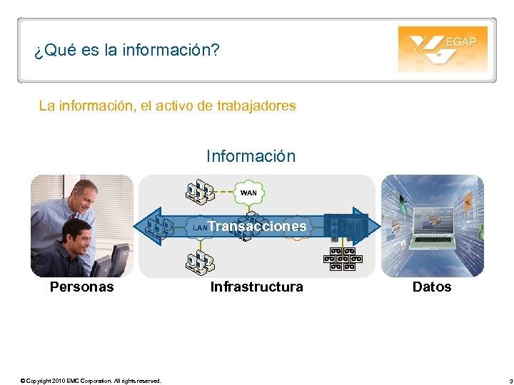 ¿Qué es la información? La información, el activo de trabajadores Información WAN SAN Transacciones