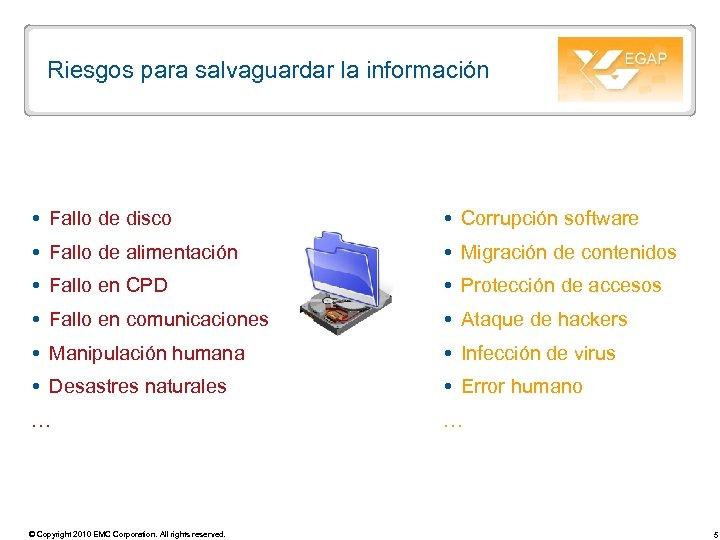 Riesgos para salvaguardar la información Fallo de disco Corrupción software Fallo de alimentación Migración