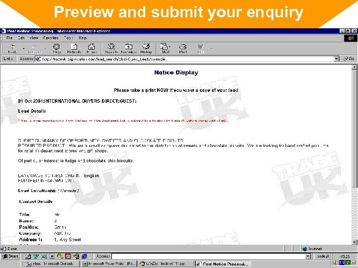Preview and submit your enquiry