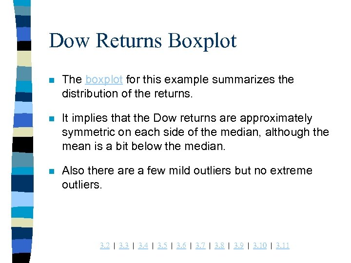 Dow Returns Boxplot n The boxplot for this example summarizes the distribution of the