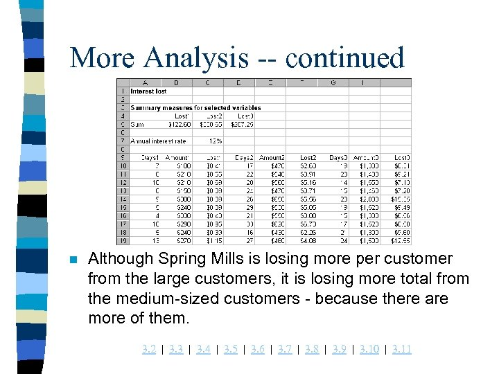 More Analysis -- continued n Although Spring Mills is losing more per customer from