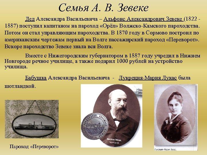 Семья А. В. Зевеке Дед Александра Васильевича – Альфонс Александрович Зевеке (1822 - 1887)