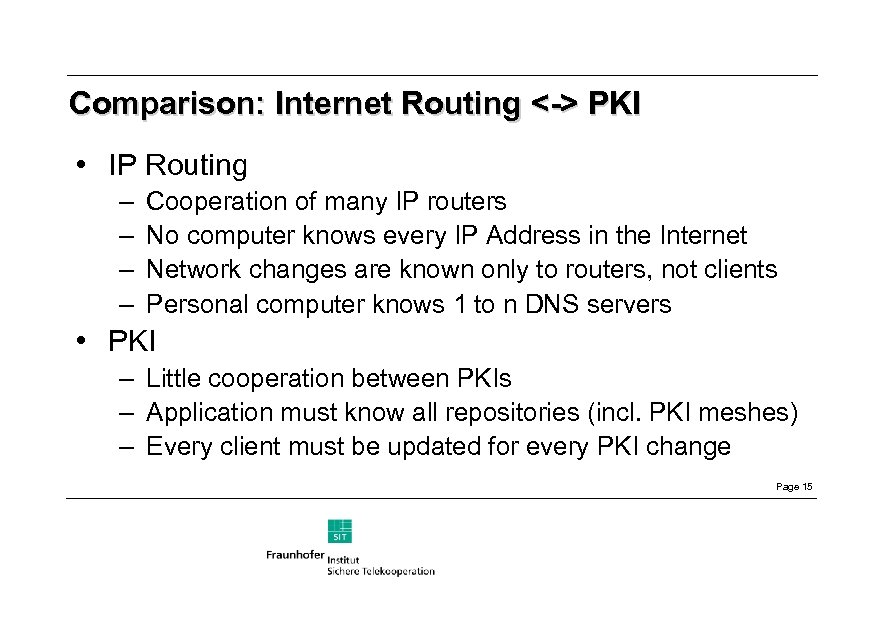 Comparison: Internet Routing <-> PKI • IP Routing – – Cooperation of many IP
