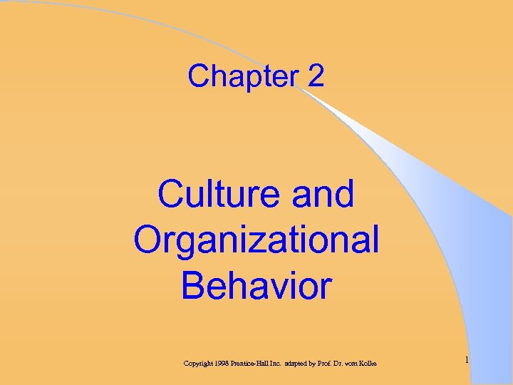 Chapter 2 Culture and Organizational Behavior Copyright 1998 Prentice-Hall Inc. adapted by Prof. Dr.