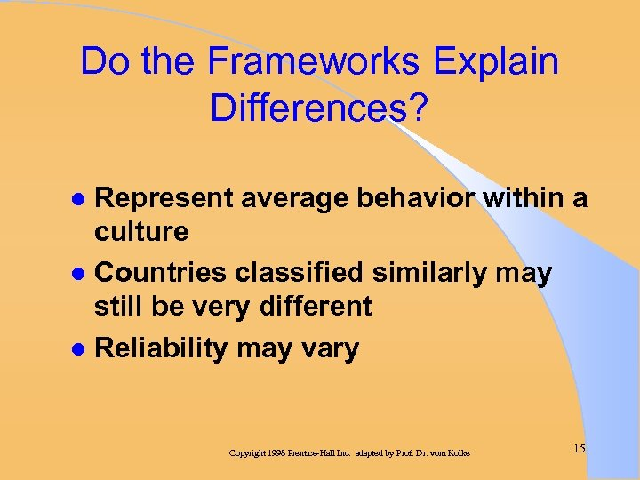 Do the Frameworks Explain Differences? Represent average behavior within a culture l Countries classified