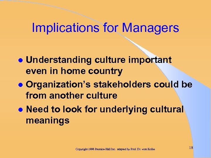 Implications for Managers Understanding culture important even in home country l Organization's stakeholders could