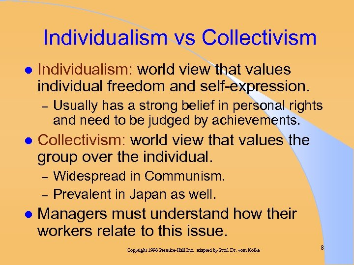 Individualism vs Collectivism l Individualism: world view that values individual freedom and self-expression. –