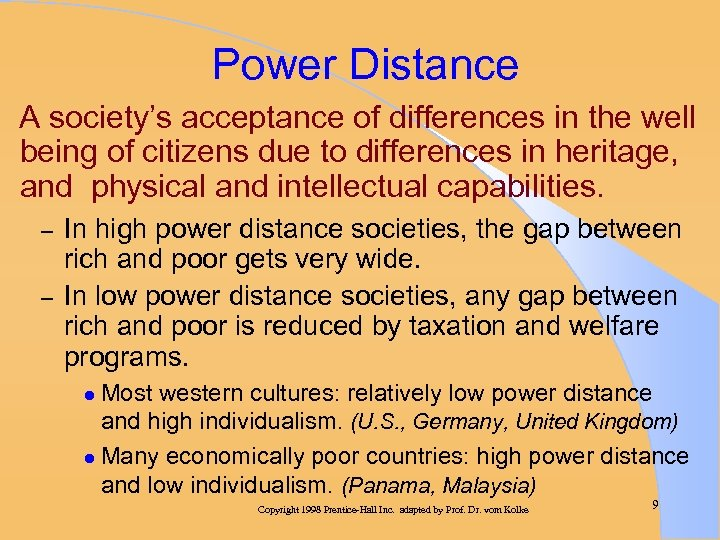 Power Distance A society's acceptance of differences in the well being of citizens due