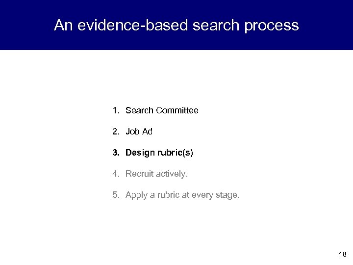 An evidence-based search process 1. Search Committee 2. Job Ad 3. Design rubric(s) 4.