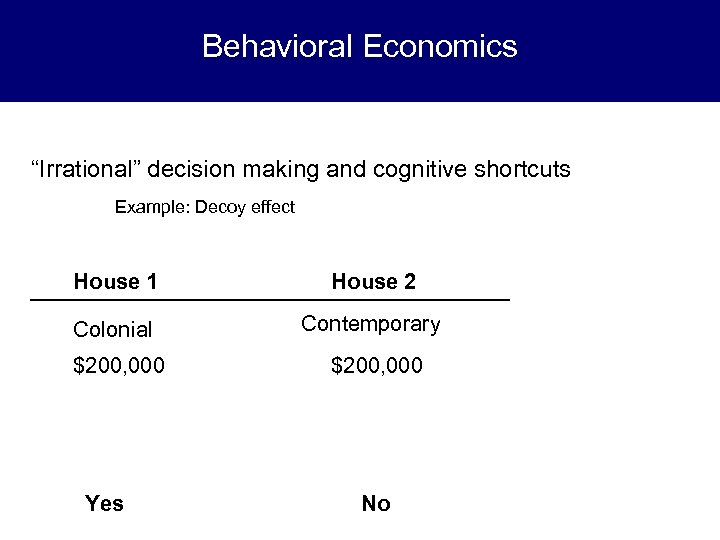 "Behavioral Economics ""Irrational"" decision making and cognitive shortcuts Example: Decoy effect House 1 House"