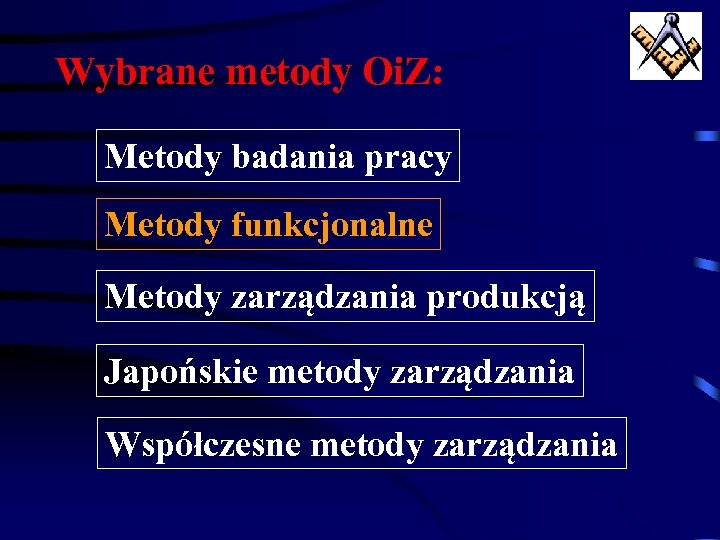 Wybrane metody Oi. Z: Metody badania pracy Metody funkcjonalne Metody zarządzania produkcją Japońskie metody