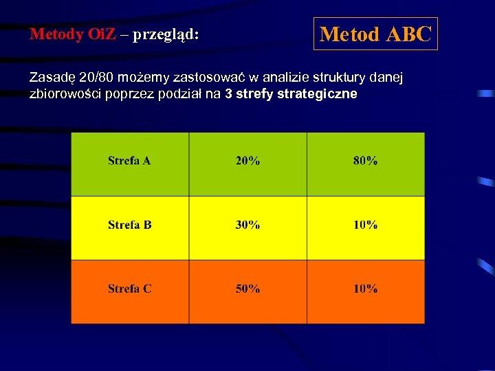 Metody Oi. Z – przegląd: Metod ABC Zasadę 20/80 możemy zastosować w analizie struktury