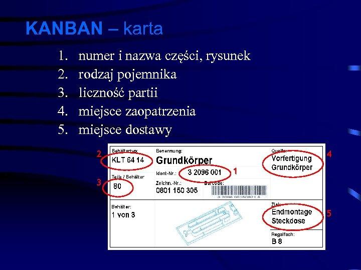 KANBAN – karta 1. 2. 3. 4. 5. numer i nazwa części, rysunek rodzaj