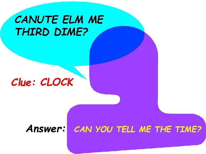 CANUTE ELM ME THIRD DIME? Clue: CLOCK Answer: CAN YOU TELL ME THE TIME?