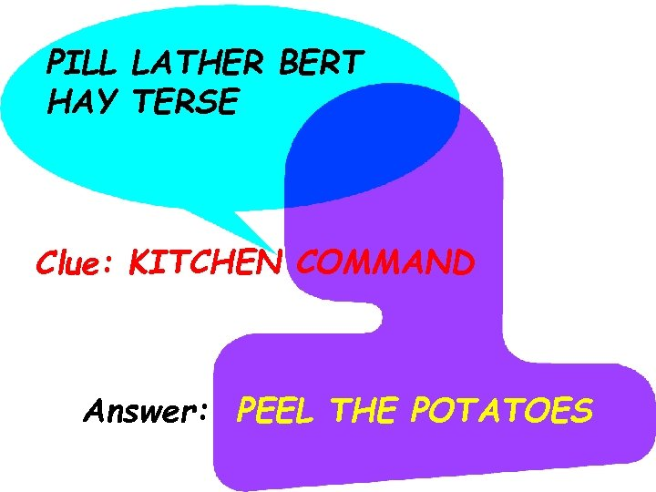 PILL LATHER BERT HAY TERSE Clue: KITCHEN COMMAND Answer: PEEL THE POTATOES