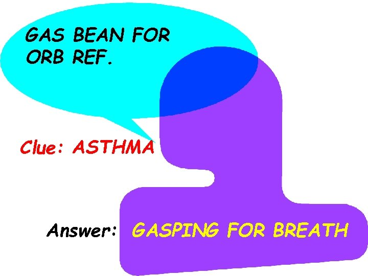 GAS BEAN FOR ORB REF. Clue: ASTHMA Answer: GASPING FOR BREATH