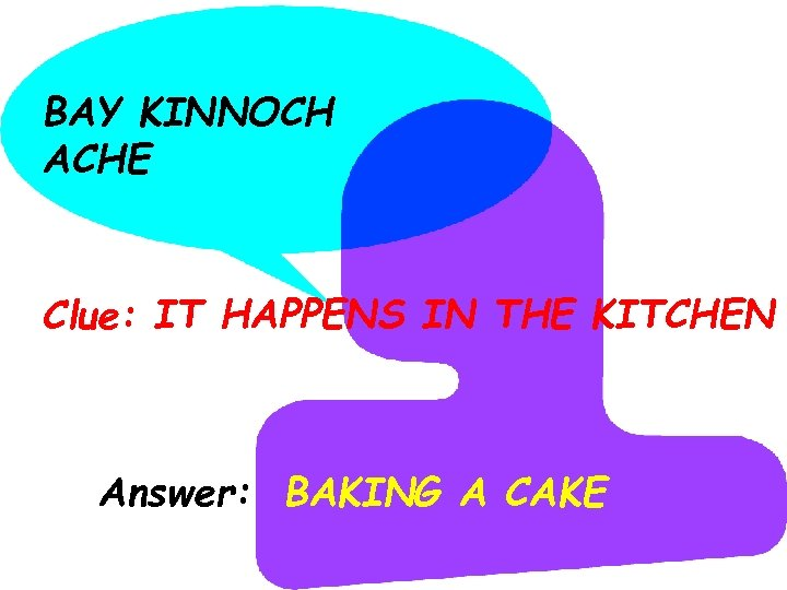 BAY KINNOCH ACHE Clue: IT HAPPENS IN THE KITCHEN Answer: BAKING A CAKE