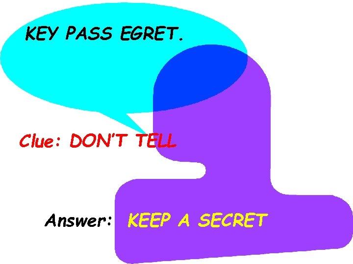 KEY PASS EGRET. Clue: DON'T TELL Answer: KEEP A SECRET