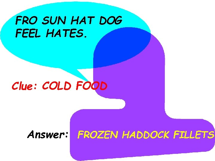 FRO SUN HAT DOG FEEL HATES. Clue: COLD FOOD Answer: FROZEN HADDOCK FILLETS