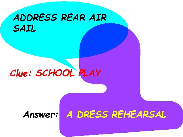 ADDRESS REAR AIR SAIL Clue: SCHOOL PLAY Answer: A DRESS REHEARSAL