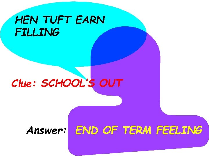HEN TUFT EARN FILLING Clue: SCHOOL'S OUT Answer: END OF TERM FEELING