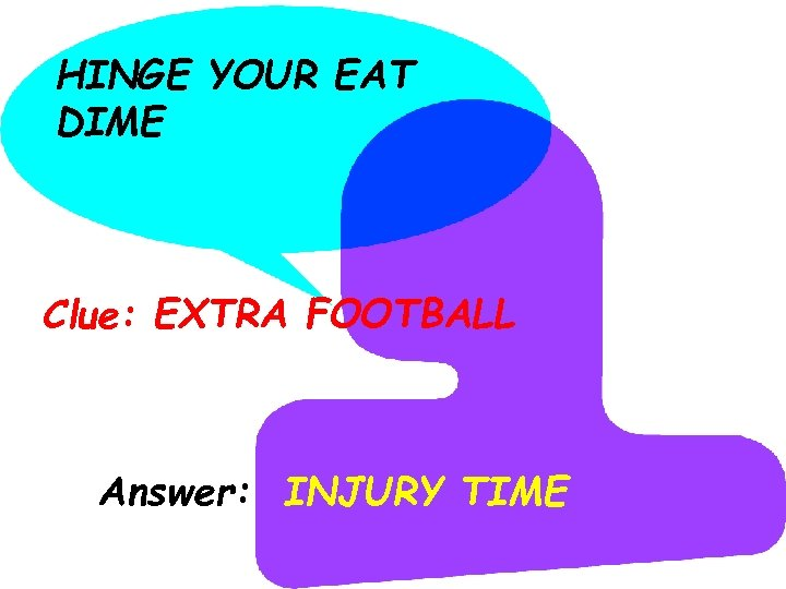 HINGE YOUR EAT DIME Clue: EXTRA FOOTBALL Answer: INJURY TIME