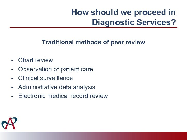 How should we proceed in Diagnostic Services? Traditional methods of peer review • •