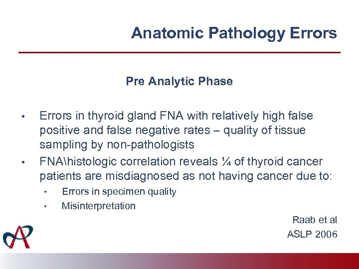 Anatomic Pathology Errors Pre Analytic Phase • • Errors in thyroid gland FNA with