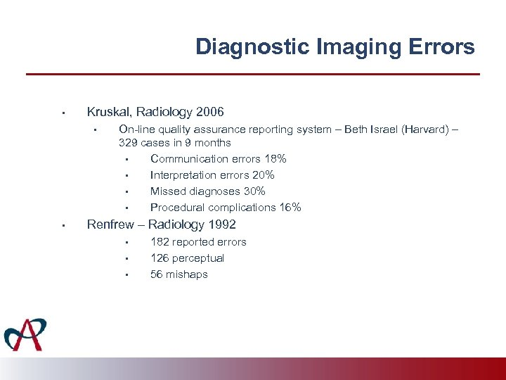 Diagnostic Imaging Errors • Kruskal, Radiology 2006 • • On-line quality assurance reporting system
