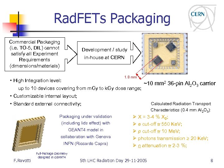 Rad. FETs Packaging Commercial Packaging (i. e. TO-5, DIL) cannot satisfy all Experiment Requirements