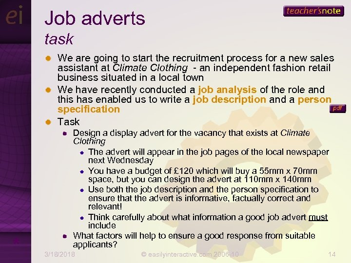 Job adverts task We are going to start the recruitment process for a new