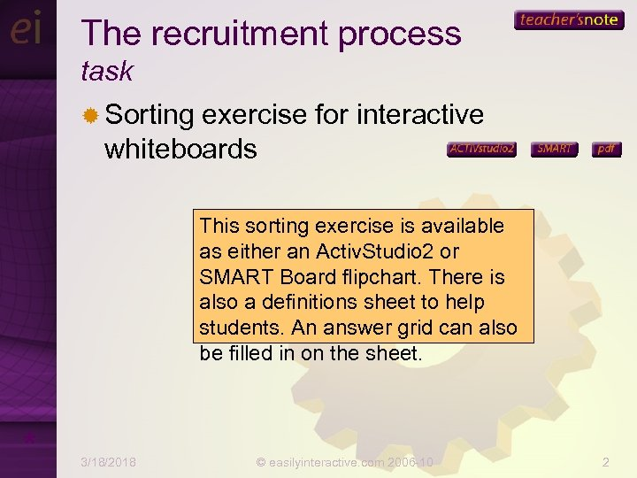 The recruitment process task ® Sorting exercise for interactive whiteboards This sorting exercise is