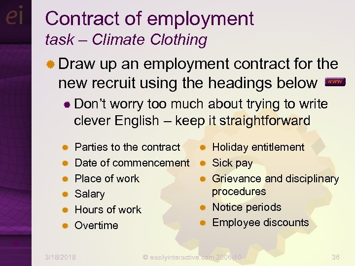 Contract of employment task – Climate Clothing ® Draw up an employment contract for