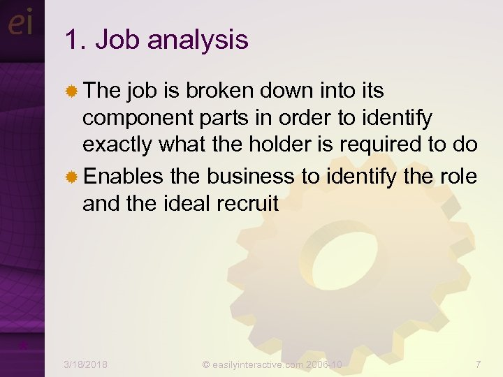 1. Job analysis ® The job is broken down into its component parts in