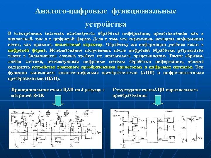 Аналого-цифровые функциональные устройства В электронных системах используется обработка информации, представленная как в аналоговой, так