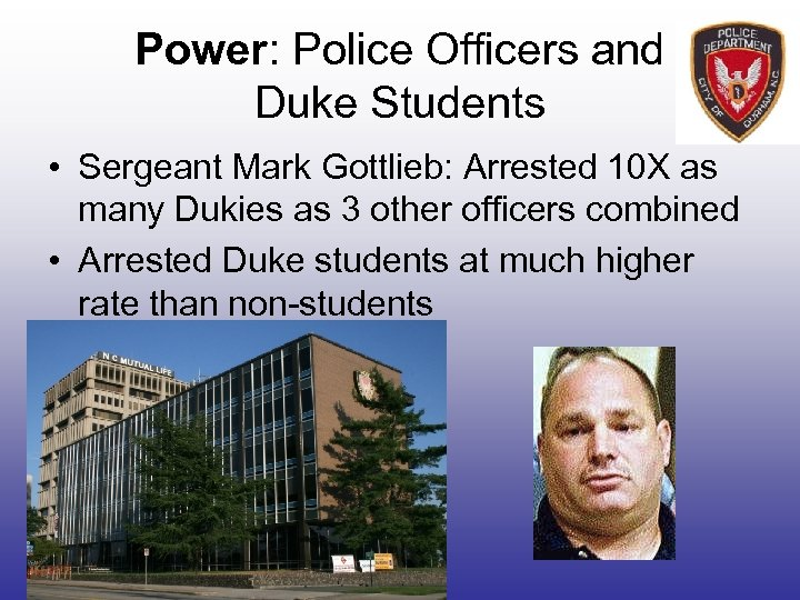 Power: Police Officers and Duke Students • Sergeant Mark Gottlieb: Arrested 10 X as
