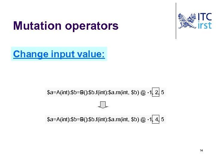 Mutation operators Change input value: $a=A(int): $b=B(): $b. f(int): $a. m(int, $b) @ -1,