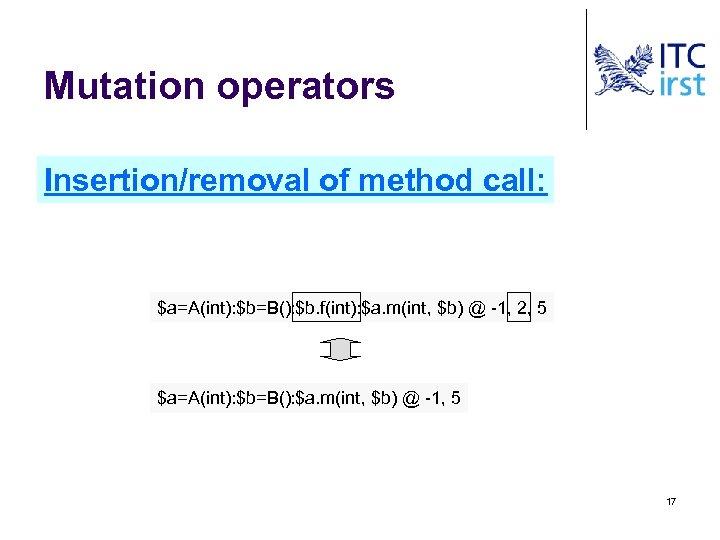 Mutation operators Insertion/removal of method call: $a=A(int): $b=B(): $b. f(int): $a. m(int, $b) @
