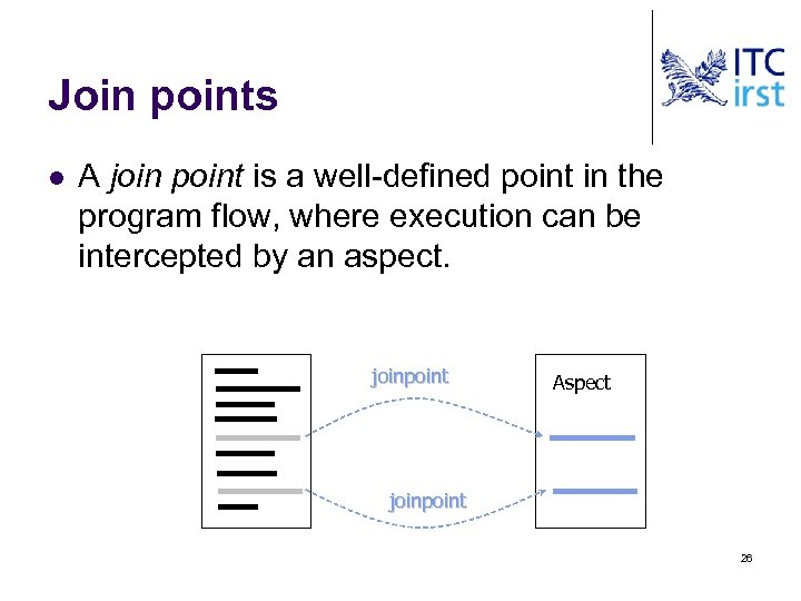 Join points l A join point is a well-defined point in the program flow,