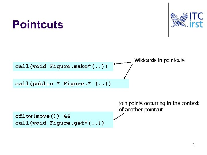 Pointcuts Wildcards in pointcuts call(void Figure. make*(. . )) call(public * Figure. * (.