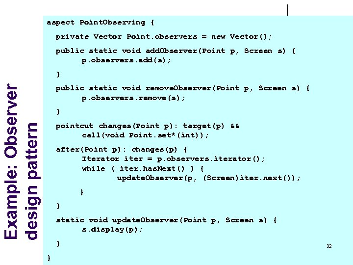 aspect Point. Observing { private Vector Point. observers = new Vector(); public static void