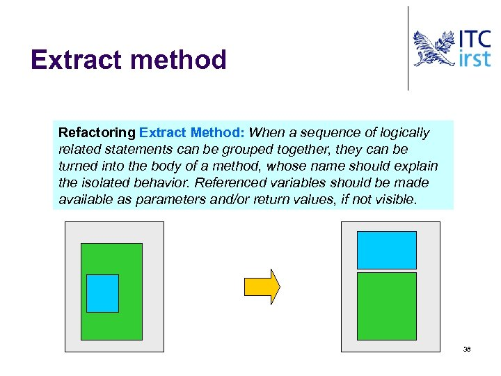 Extract method Refactoring Extract Method: When a sequence of logically related statements can be