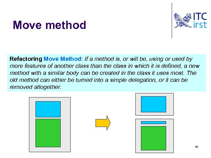 Move method Refactoring Move Method: If a method is, or will be, using or