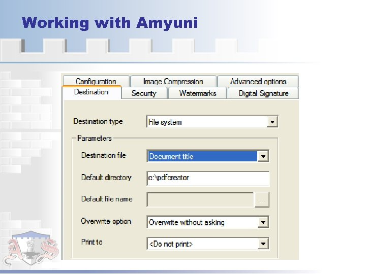 Working with Amyuni